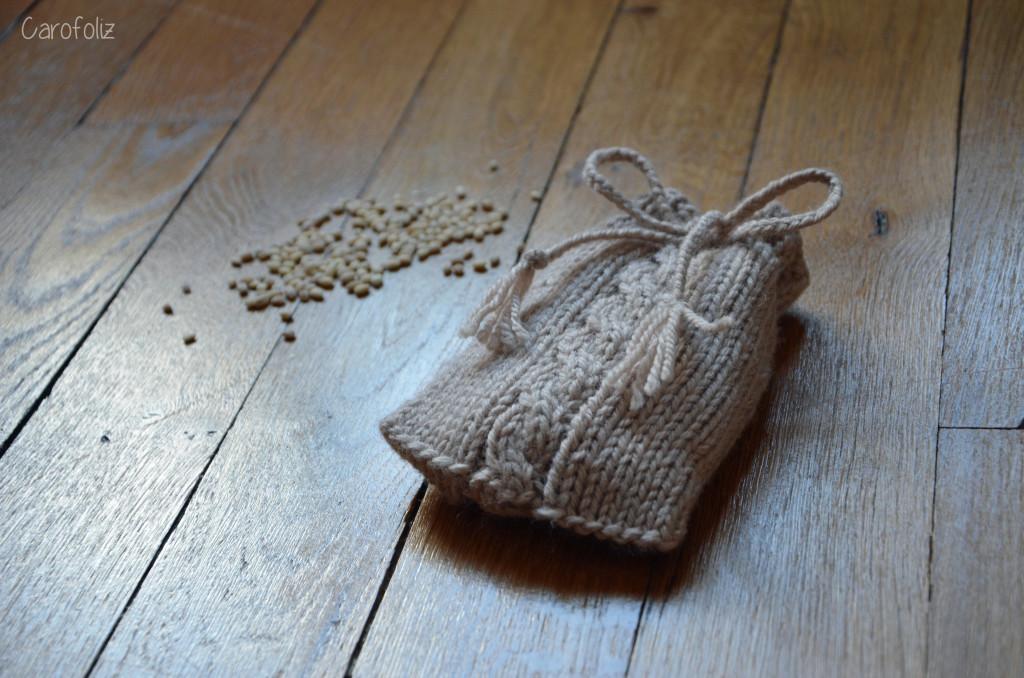 cache bouillotte au tricot