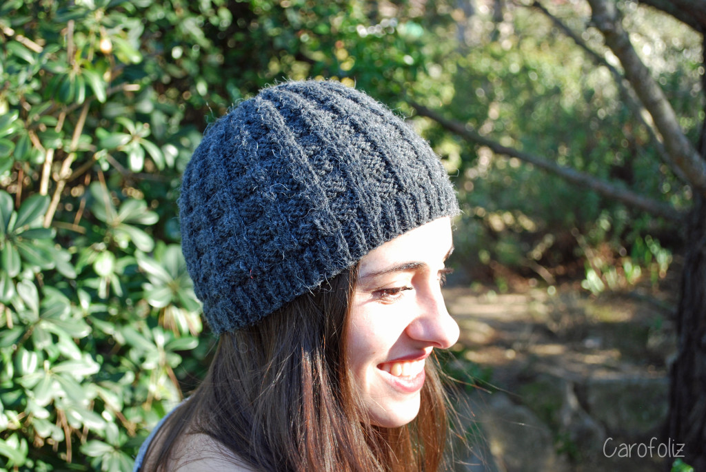 bonnet damier au tricot