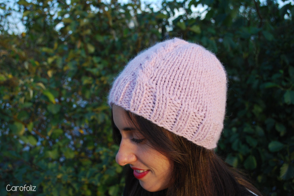 bonnet rose au tricot