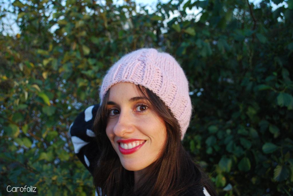 bonnet rose au tricot