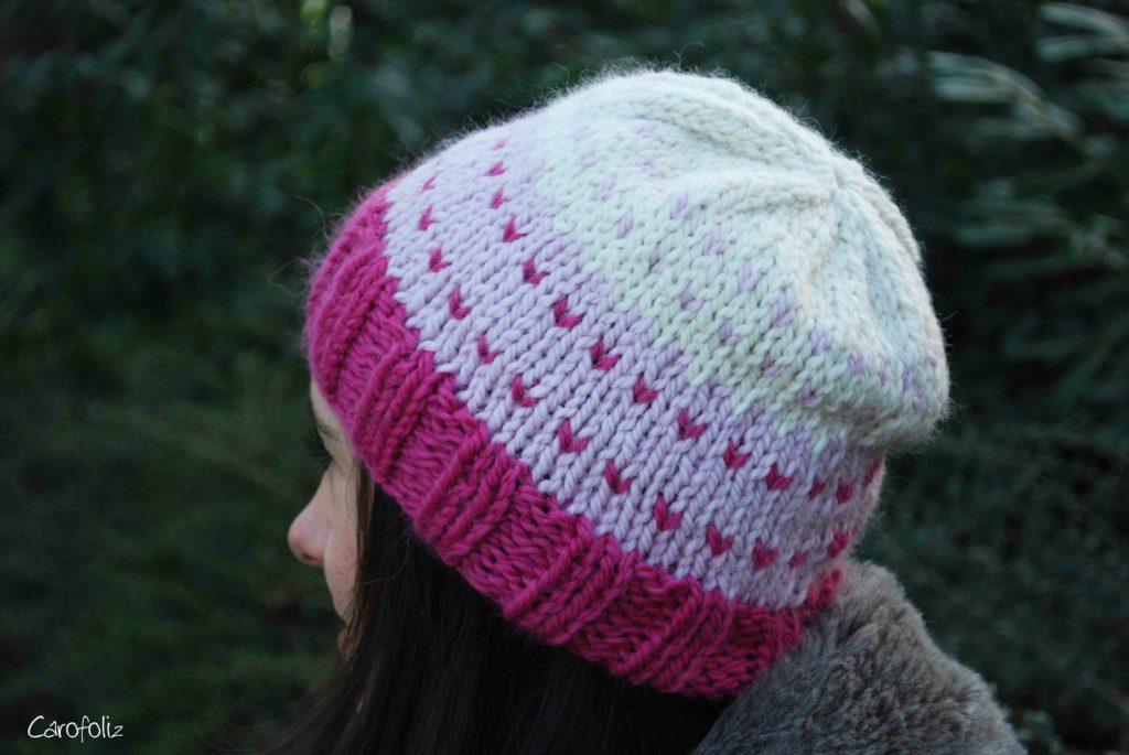 bonnet dégradé rose