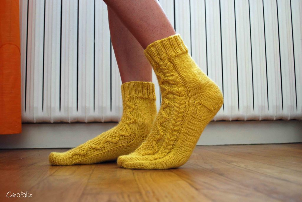 chaussette au tricot