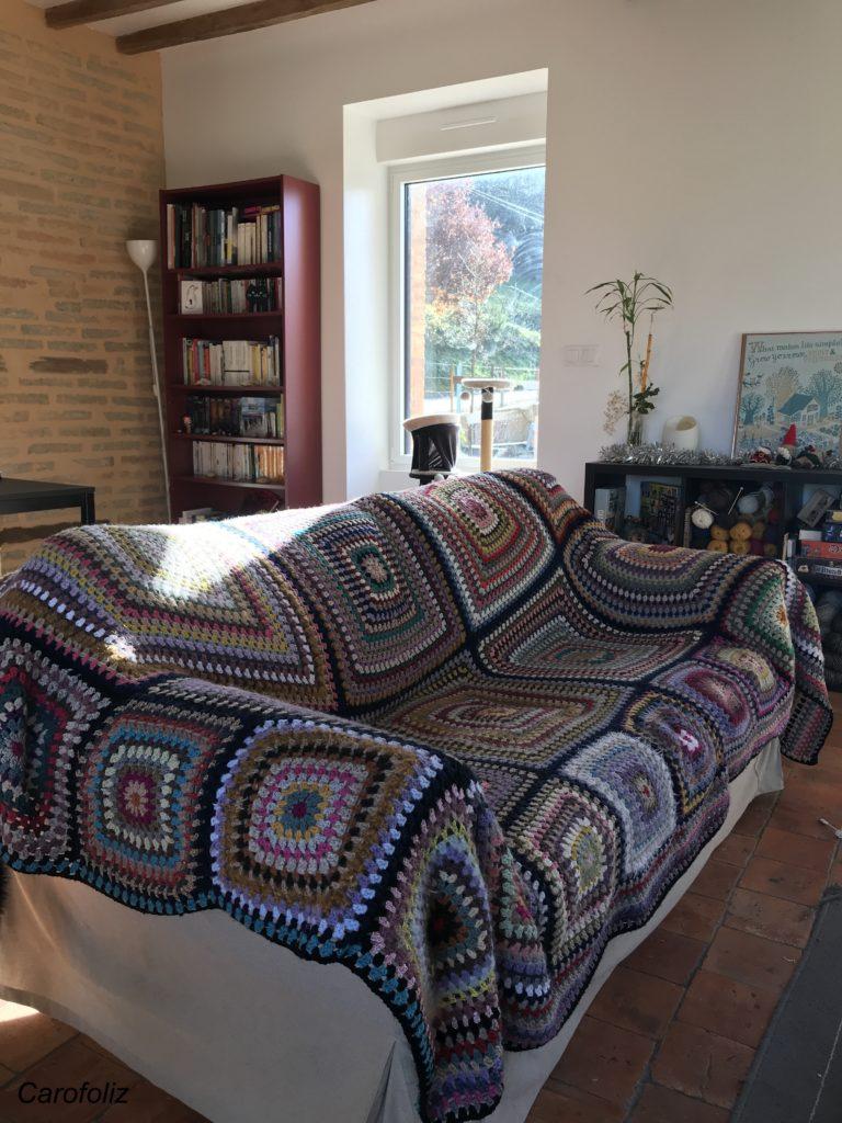 jeté de canapé au crochet