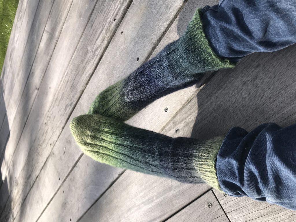 chaussette toe-up en côtes