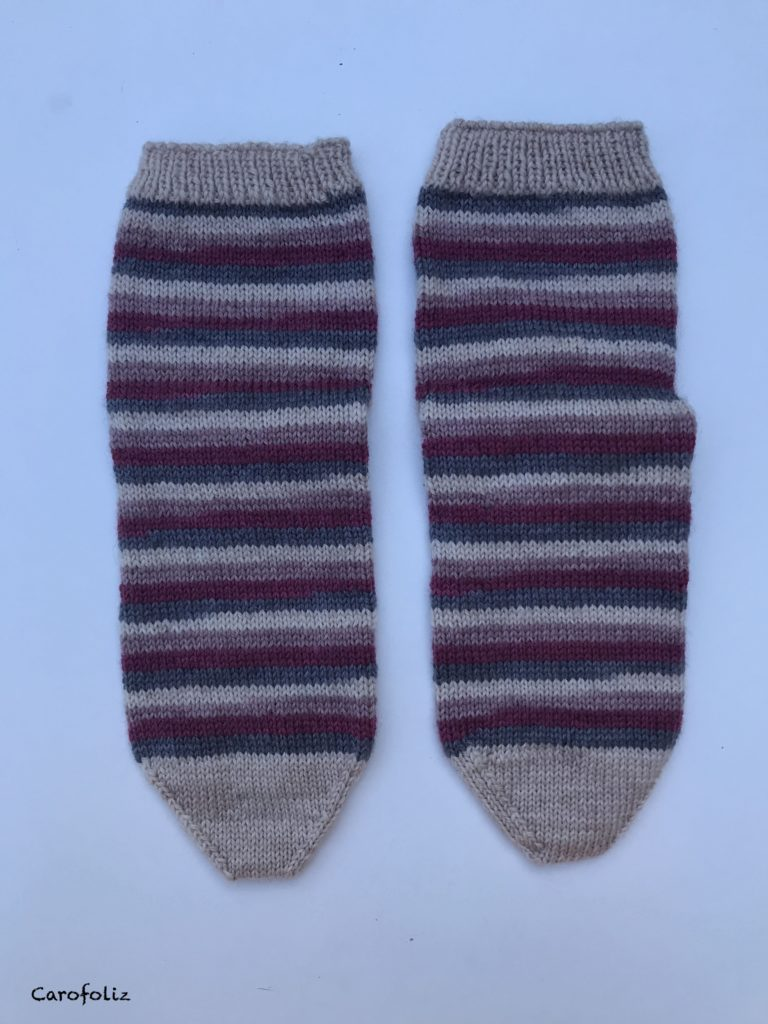 tricot chaussettes rayées